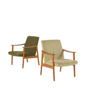 Danish modern pair of armchairs denmark 1960s teak beech brass and upholstery unmarked each 31 x 26 x 28