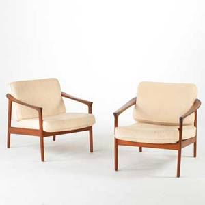 Dux pair of lounge chairs sweden 1960s sculpted teak and wool metal labels each 24 x 29 x 30
