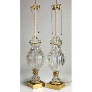 Marbro lamp co pair of glass and brass table lamps usa 1950s paper labels each 44 x 8 12 dia