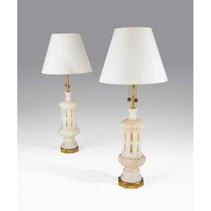 Marbro lamp co pair of tall carved alabaster and gilded wood table lamps unmarked 51 34 x 9 12 shade 22