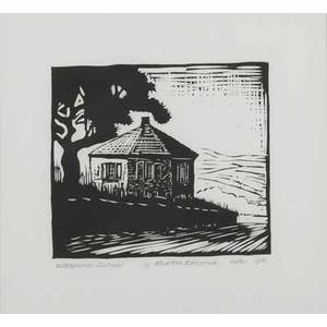 After wharton esherick american 18871970 woodcut print restrike on paper octagonal school 1981 framed signed titled dated and numbered 8 x 9 image
