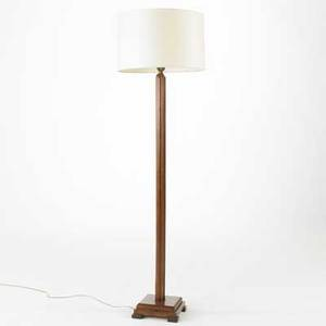 Studio floor lamp walnut shaft with stepped base unmarked 69 x 20 dia