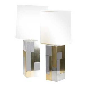 Paul evans pair cityscape table lamps polished chrome and brushed brass unmarked each 34 12 x 7 sq