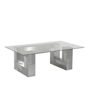 Style of paul evans coffee table 1970s chromed steel and glass unmarked 16 x 46 x 28
