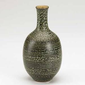 Harrison mcintosh earthenware bottleshaped vase with mottled blue and brown matte glaze signed mcintosh 7 58 x 3 dia