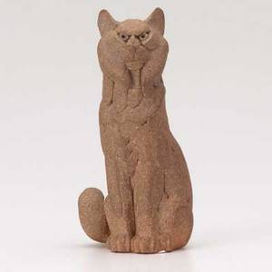 Betty davenport ford bobcat on watch sculpted stoneware figure 1950s signed 5 x 2 12 x 2