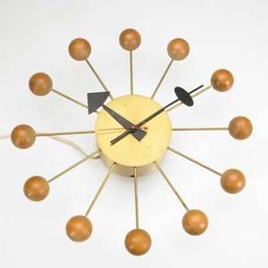 George nelson howard miller ball clock brassplated metal maple and enameled steel howard miller clock co label 3 x 13 34 dia