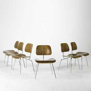 Charles  ray eames herman miller set of six dcms usa 1990s walnut and chromed steel all labeled each 30 x 19 12 x 20