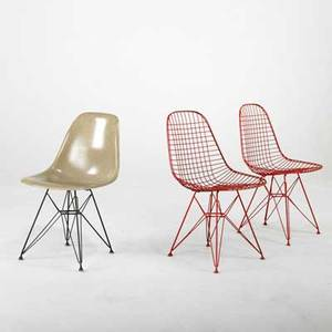 Charles  ray eames herman miller three eiffel tower side chairs 1950s fiberglass and enameled steel one with paper label 31 x 18 34 x 21 12
