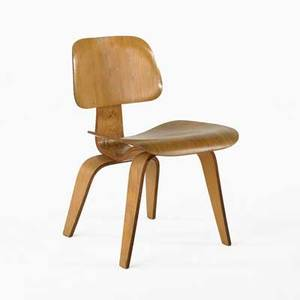 Charles  ray eames evans  herman miller dcw dining chair 1940s ash laminate rubber and steel decal label 29 x 19 12 x 21 12