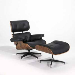 Charles  ray eames contemporary lounge chair and ottoman recent vintage rosewood leather and aluminum manufacturer unknown chair 44 x 35 12 x 35 ottoman 19 x 25 x 20