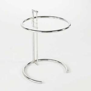Eileen gray adjustable occasional table likely made in italy after 1995 glass and chromed steel unmarked 26 x 20 12 dia