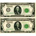 100 federal reserve notes ten with green seal and gold obligation clause 1928 sequentially numbered b01632640a  b01632649a all choice au