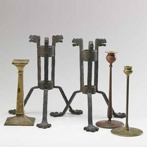 Candleholder grouping pair in wrought iron in the style of samuel yellin two jarvie style and one arts  crafts style 20th c tallest 15