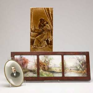 Kpm etc three items 20th c oval painting of a gentleman marked kpm english tile depicting a courting scene and framed tile triptych with landscape kpm plaque 7 x 5 14