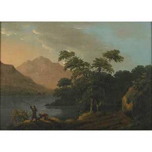 19th c european landscape oil on canvas mountain landscape with fishermen framed 12 12 x 18