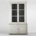 Painted twosection cupboard distressed paint fitted wine rack in base 20th c 100 12 x 58 12 x 21 12