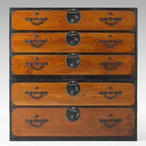 Twosection tansu chest mixed woods with threeovertwo drawer configuration 19th c 47 12 x 45 12 x 17 12