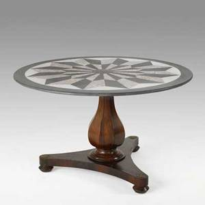 Center hall table walnut with pedestal base and inlaid marble top 20th c 28 x 47 12 dia