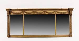 Gilt Wood Framed Triple Panel Mirror