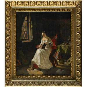 19th c preraphaelite painting oil on canvas of a woman reading by an open window framed illegibly signed 21 x 18