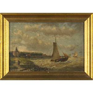 Hendrick hulk dutch 18421937 oil on panel of a sailing ship by the shore framed signed 7 14 x 10 12