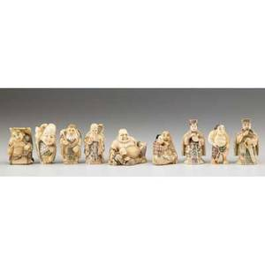 Japanese netsuke nine figural items including wise men and buddha in ivory or bone 19th20th c most marked tallest 2 14