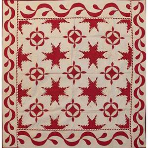 New jersey applique quilt turkey red on white with sawtooth design at border mid 19th c 88 x 92