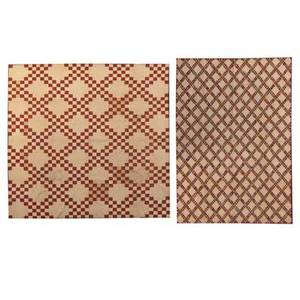 New jersey irish chain quilts two mid 19th c one triple with postage stampsized squares the other double irish chain larger 86 x 95
