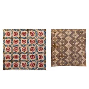 Patchwork quilts two early 19th c brown and white mosaic together with red white and blue flower squares larger 88 x 88