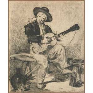 After edouard manet french 18321883 two etchings on paper the spanish singer and the gypsies both framed both signed in the plate larger 11 12 x 9 12