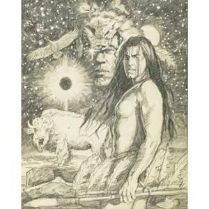 Greg hildebrandt american b 1939 pencil on paper mystic warrior framed signed and titled 21 x 16