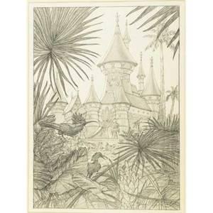 Greg hildebrandt american b 1939 pencil on paper glyndas castle framed signed and titled 20 x 14