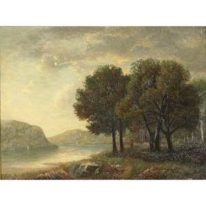 19th c panoramic landscape oil on canvas of a river landscape framed illegible signature lower right 19 x 24