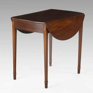 American pembroke dropleaf table mahogany with bellflower inlay ca 17901810 29 x 30 12 x 20 12 closed