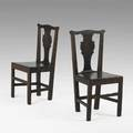 Pair of chippendale sidechairs walnut with plank seats 18th c 37 x 19 12 x 16