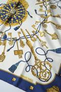 Hermes Blue and White Multi Les Cles Silk Scarf