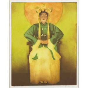 John meville kelly american 18981962 aquatint in colors on paper chinese costume  hawaii framed signed and titled 14 12 x 11 12