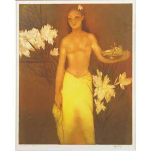 John meville kelly american 18981962 aquatint in colors on paper banana girl  hawaii framed signed and titled 14 12 x 11 12