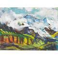 Joseph meierhans swissamerican 18901980 oil on board of an alpine landscape artistmade frame signed 11 x 15
