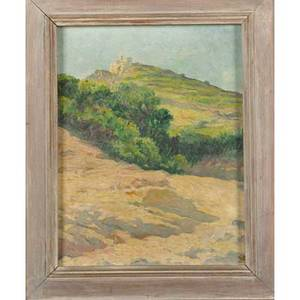 Francis luis mora uruguayanamerican 18741940 oil on board castle of sant tour coast of catalonia framed signed and titled 9 12 x 7 12