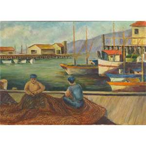 Two mid 20th c paintings oil on canvas of fishermen on wharf 1940 framed signed jean de longpre and dated oil on burlap of a carriage and horse 1955 framed signed de treort  and dated l