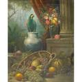 20th c still life painting oil on canvas still life in baroque style framed signed illegibly and dated 1989 30 x 24