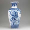 Japanese imari blue and white palace vase with forest scene 19th c 23 12