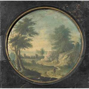 19th c framed works crewel embroidered pastoral scene together with an oil on panel of a village scene larger 21 x 24