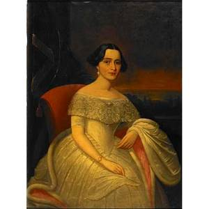 Arthur armstrong american lancaster county pa 17981851 oil on canvas portrait of margaretta kellar 1851 framed lancaster portraiture committee label and handwritten provenance on verso 48