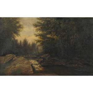 James hope american 18181892 oil on canvas of rocky stream in a forest framed signed 18 x 28