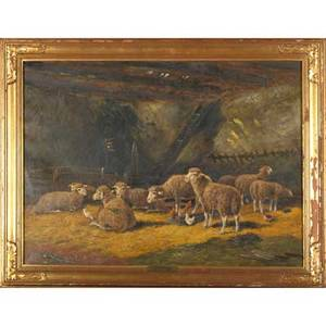19th c farm yard scene oil on canvas in the fold framed signed c hind and titled 23 x 31
