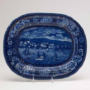 Historical staffordshire sandusky blue transferware platter early 19th c 16 12 x 13 14