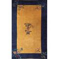 Peking chinese rug gold ground with navy blue border and floral design early 20th c 202 x 122